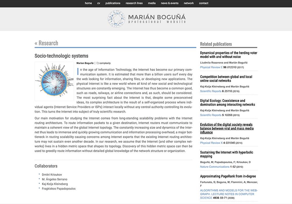 Marian Boguñá, professional website